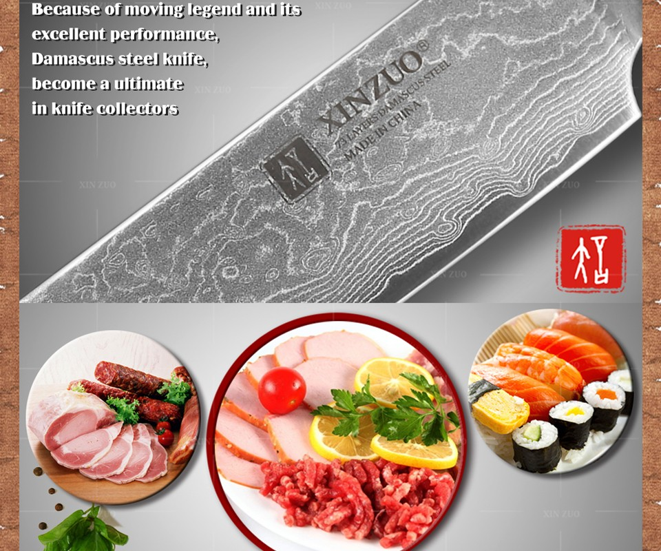"Buy XINZUO 8 "" inch Sashimi knife 73 layer Damascus kitchen knife Japanese VG10 cleaver knife Color wood handle free shipping cheap"