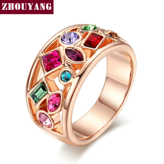 ZYR018 2014 new Imitation Gemstone Statement Party Finger Rings  Gold Plated Brand Crystal Jewelry for women Anel Wholesale