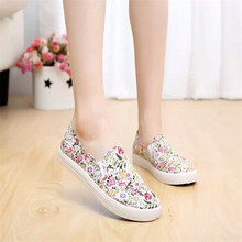 Flower print women flat shoes 2016 platform summer loafers comfortable ladies slip on flats casual canvas shoes KM1461(China (Mainland))
