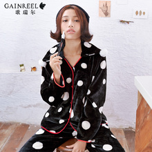 Song Riel autumn and winter fashion sweet wave point cozy flannel pajamas casual tracksuit suit Ms. put retractor