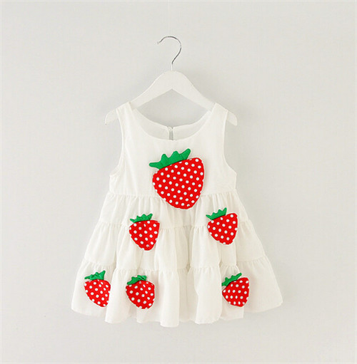 Sweet Child Strawberry Sleeveless Dress Korean Summer New Cotton Children's Clothing Kids Cute Fruit Design Saia For Girls KT023(China (Mainland))