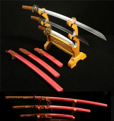 1095 HIGH QUALITY JAPANESE SAMURAI SWORD SET ( KATANA + WAKIZASHI +TANTO)(China (Mainland))