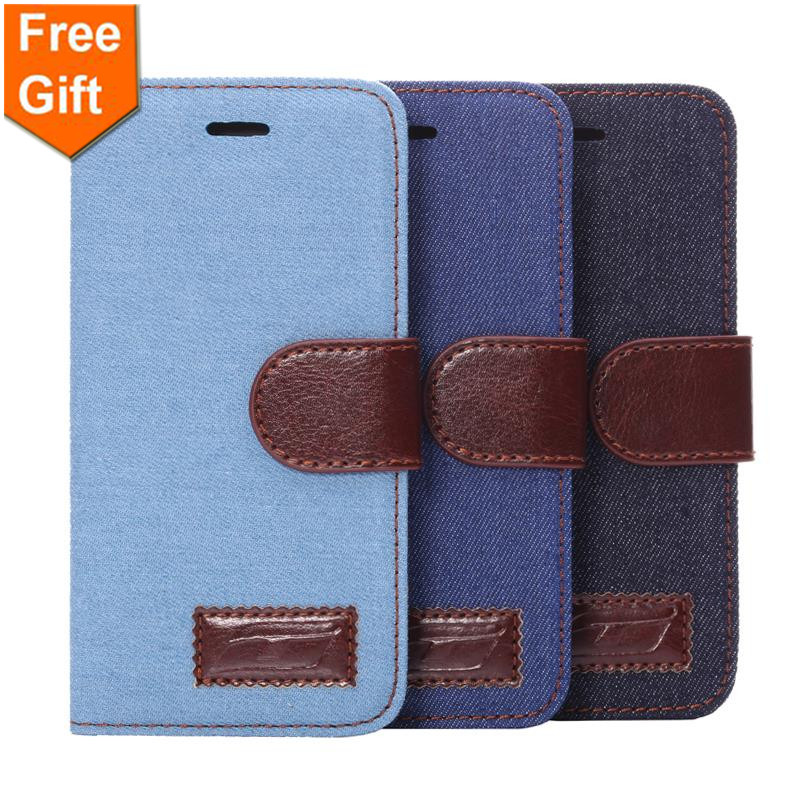 for iphone 6 case 4 7 Vintage Cowboy Jean Fabric PU leather Wallet silicone Cases For