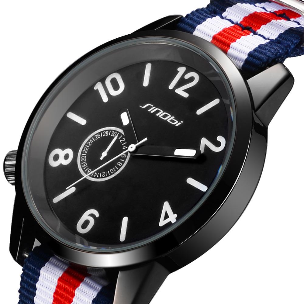 Sinobi brand canvas sport men quartz watch relogio masculino casual quartz-watch erkek kol saati 2016 military mens watches(China (Mainland))