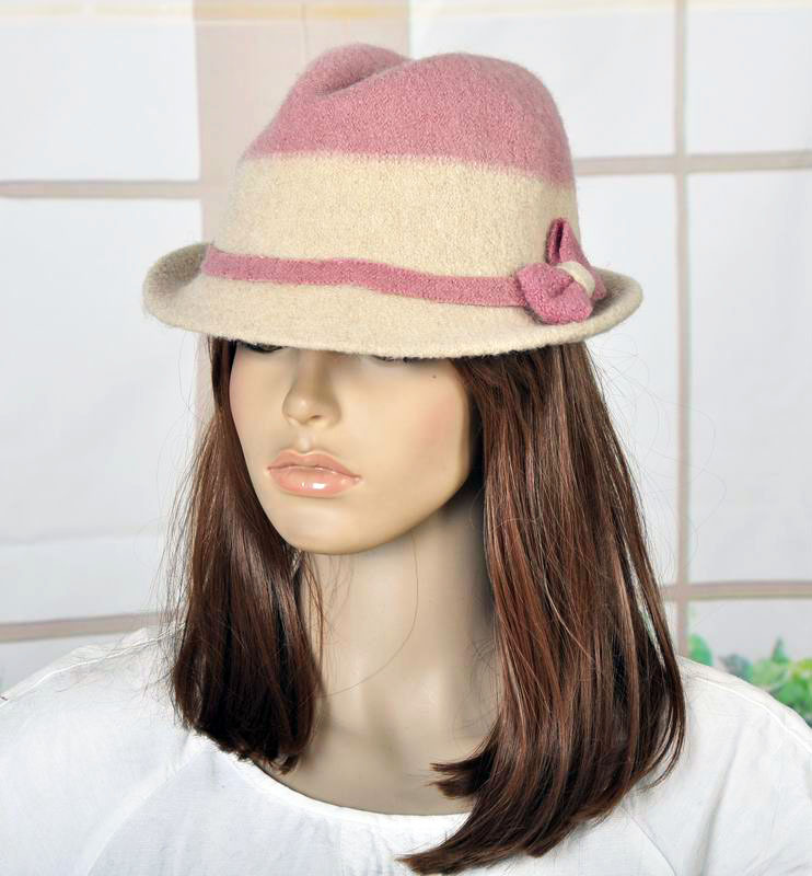 M99 Cute Bow Contrast Color 2-Tone Wool Winter Brim Hat Cap Fedora Pink&Beige(China (Mainland))
