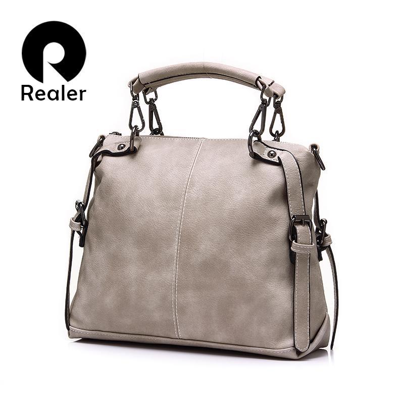 Realer Brand New Product Woolen Women Boston Tote Fashion Ladies Shoulder Bag Solid Female Crossbody Bag(China (Mainland))