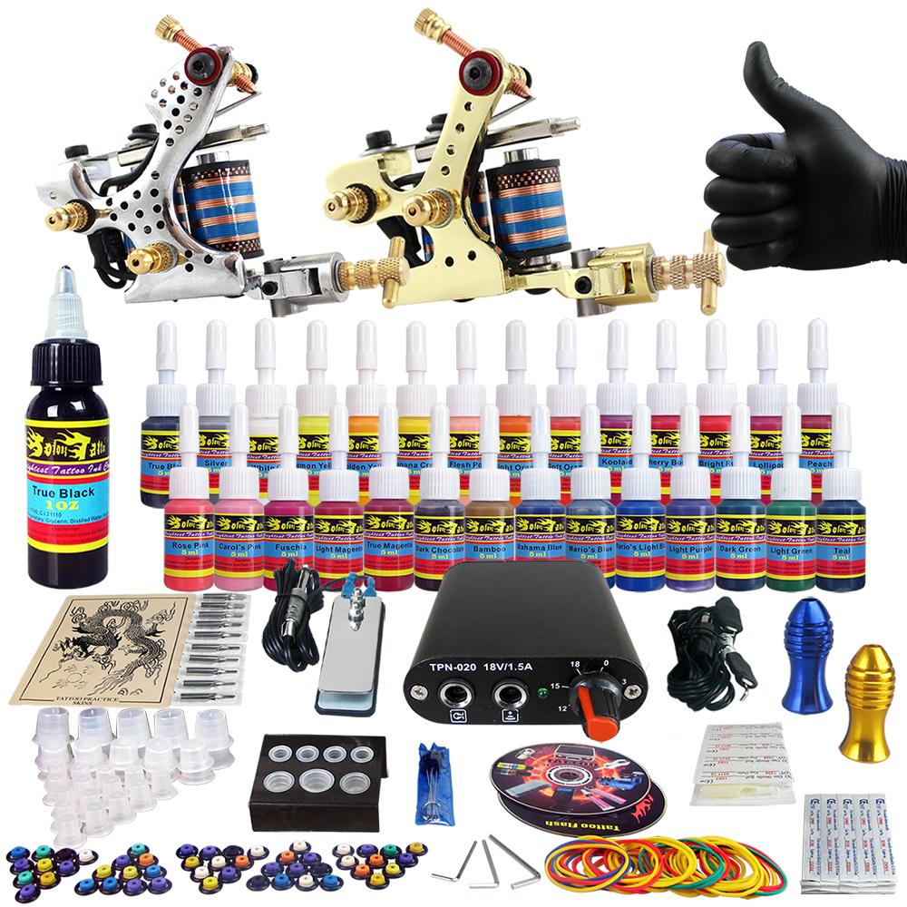 Solong Tattoo Complete Tattoo Kit Beginner 2x Tattoo Machine Guns Power Supply 20 Needles 28 Colors Tattoo Inks TK204-11<br><br>Aliexpress