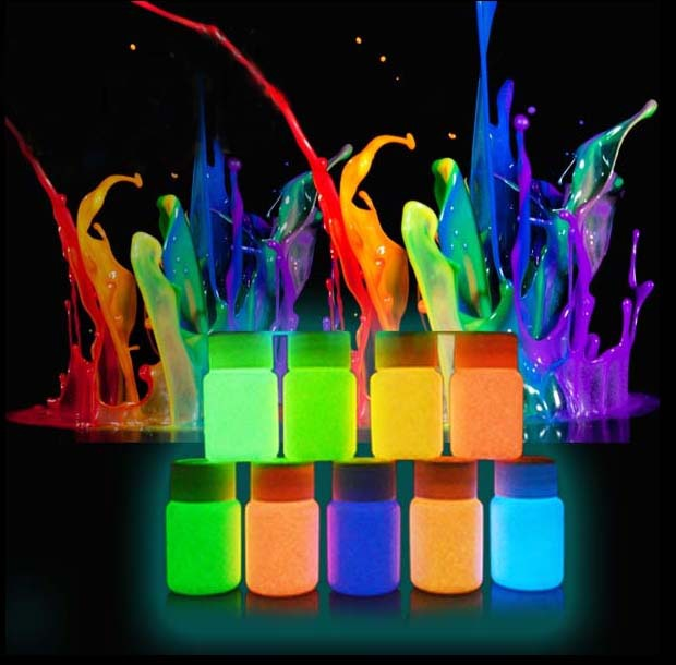 12 color glow in the dark pigment, luminous paint powders 10g x 12 color, with maximum brightness and long afterglow(China (Mainland))