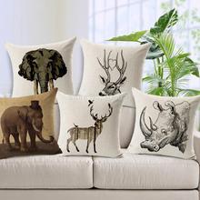 European Deer Rhinoceros Linen Pillow Cushion Throw Cushion