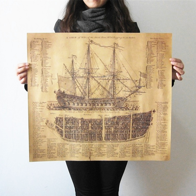 The Classical Art Wall World Map Poster Kraft Paper&The Ancient Imperial Warships Vintage Retro Posters 57*51cm(China (Mainland))