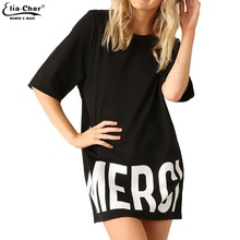 Summer Dress 2017 Active Black Women Dresses with Letter Print Eliacher Brand Plus Size Casual Women Clothing T-shirt Dresses(China (Mainland))