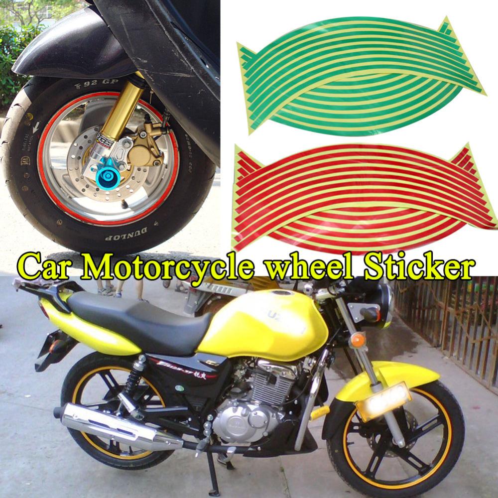 2015 hot sale new 16 Strips Wheel Sticker Reflective Rim Stripe Tape Bike Motorcycle Car 18inch free shipping(China (Mainland))