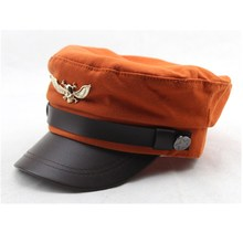 New 2016 Kids Fashion Military Hat Leather Brim Patch Caps for Children Summer Hat Casquette Visor Sun Hat Gorras Military Hats(China (Mainland))
