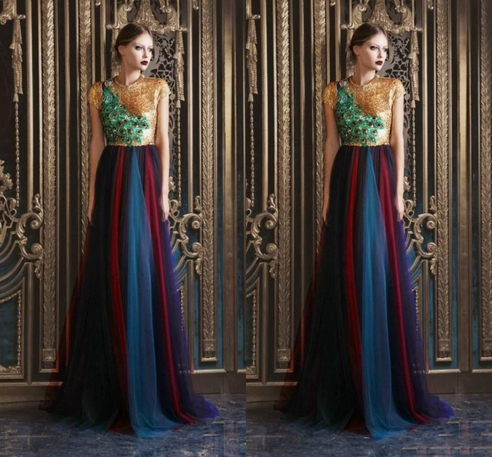 Popular peacock gowns buy cheap peacock gowns lots from for Rami kadi wedding dresses prices