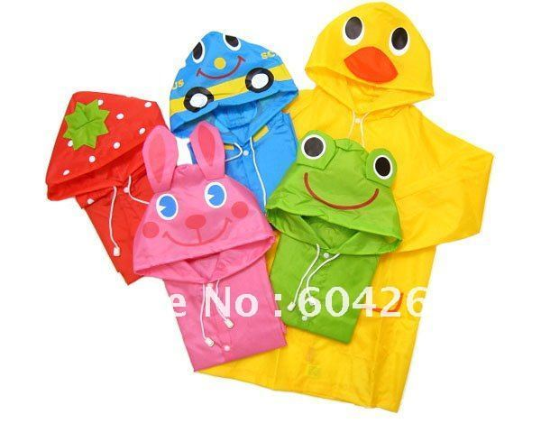 Free Shipping Kids Rain Coat children Raincoat Rainwear/Rainsuit,Kids Waterproof Animal Raincoat 5pcs/lot
