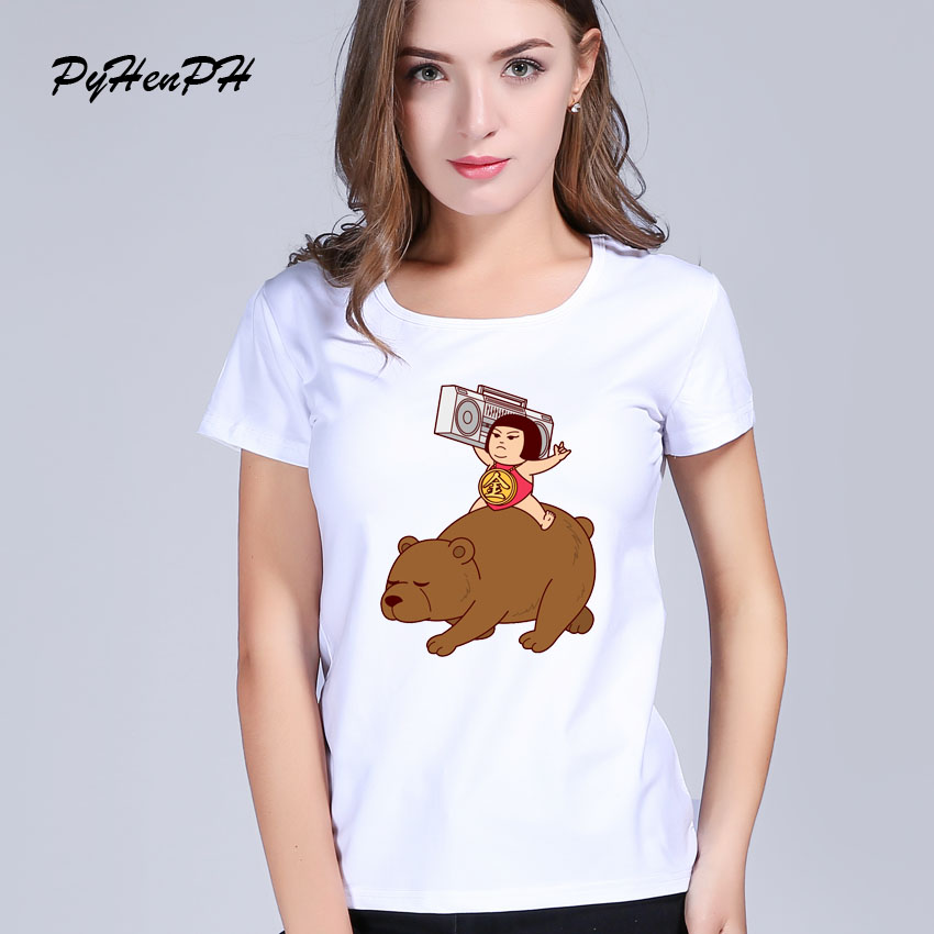 New 2017 China Style Design T Shirt Summer Women Children on the bear printes Novelty Funny Cool Short Sleeve Tee Tops(China (Mainland))