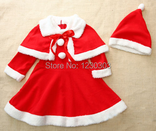 Holiday Baby Girls Christmas Warm Cotton Clothes Hat Dress Shawl 3Pcs Sets Outfits Party For Age1-4Y(China (Mainland))