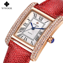 Top Brand Leather Strap Women Watch Crystal Diamond Dress Ladies Casual Quartz Watches Sport Wristwatch Red Watches 590501GW(China (Mainland))