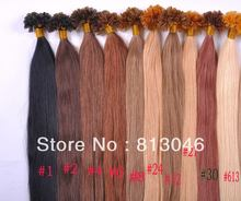 100% Remy human U Tip hair extension nail hair extension 1g/strand 100g/pack(China (Mainland))