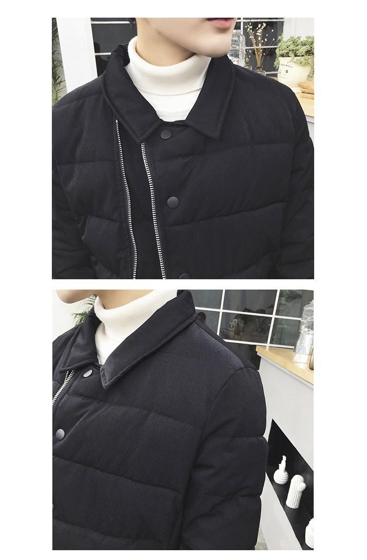 Скидки на Корейский Зимние Телогрейки Мужчины 2016 Мода Косой Молнии С Длинным куртка hombre черный Плюс Размер 5XL Теплая мужская Ватные куртка