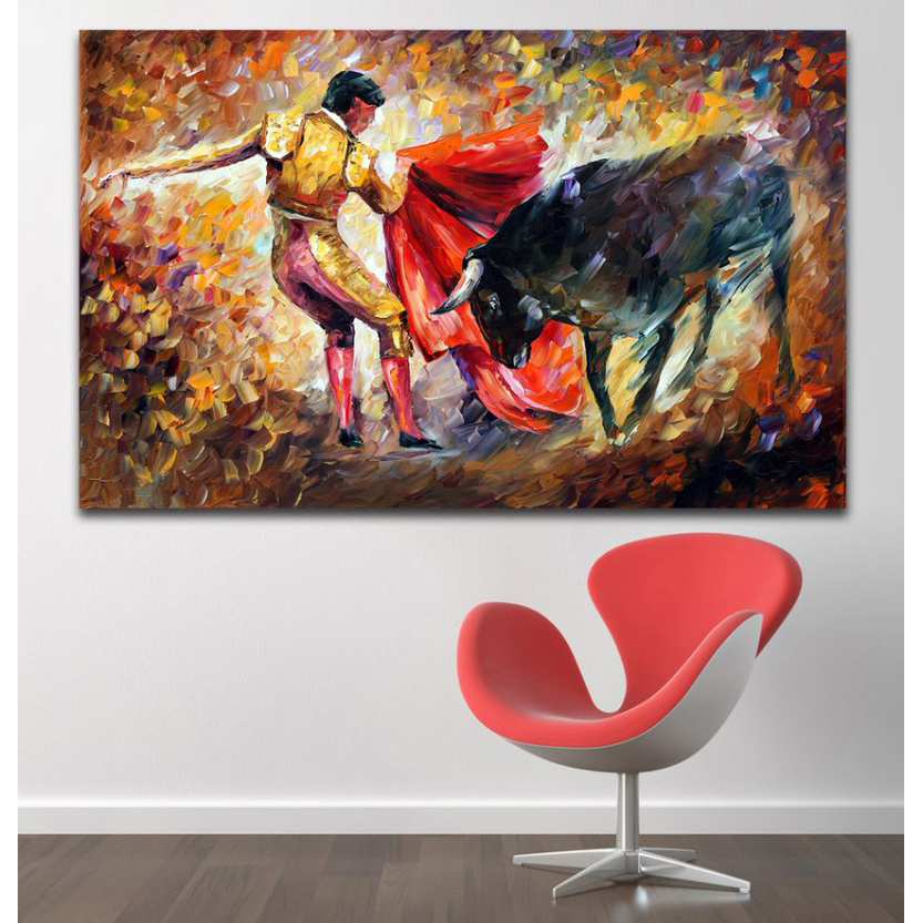Impressive Palette Knife Painting Spanish Bullfight Picture Canvas Print for Living Room Office Wall Art Decor(China (Mainland))
