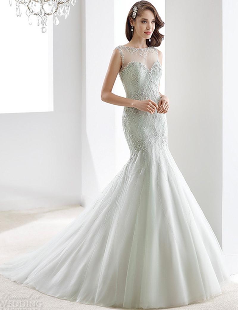 Top Luxury Wedding Dress : Sheer back mermaid wedding dress see though o neck bling