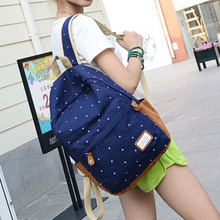 New 2015 casual canvas backpack women fashion school bags for girls dot printing backpack shoulder bags mochila CB025