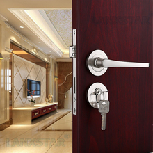 Wholesale Brushed Nickel Zinc Alloy Lock Indoor Handle Spilit Locks Room Mute Lockset Safety Lockset Door-lock(China (Mainland))