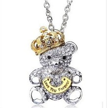 Fashion jewelry  full rhinestone necklace An crown Teddy bear necklace  Chain length 66 cm Free shipping(China (Mainland))