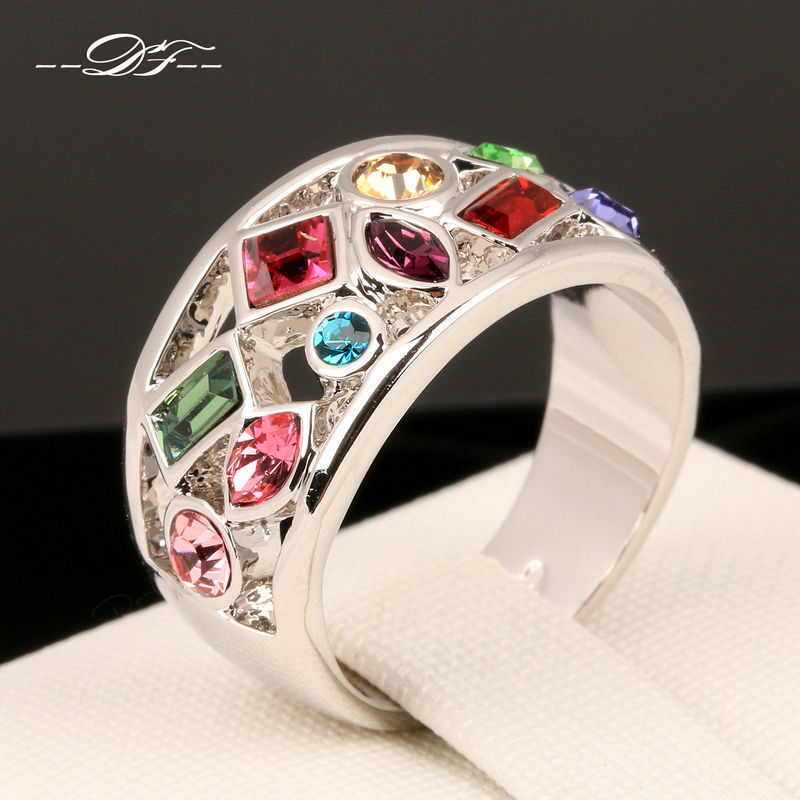 Luxury Multicolor Imitation Gemstone Finger Rings 18K White Gold Plated Fashion Brand Crystal Jewellery/Jewelry For Women DFR075(China (Mainland))