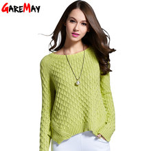 GAREMAY Spring 2016 Women Sweater And Pullover Pull Femme Irregular Hem Trendy Knitted Sweater Short Solid Sweater For Women 062(China (Mainland))