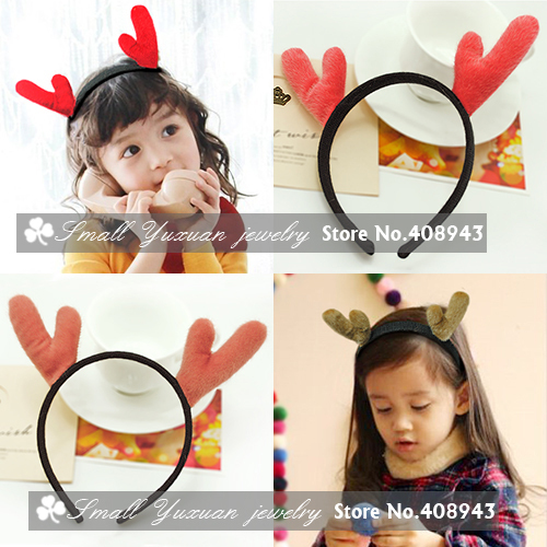 Christmas party headwear Cute children girls baby Christmas gift Hair Accessories furry Elk antlers headband hairbands H9014(China (Mainland))