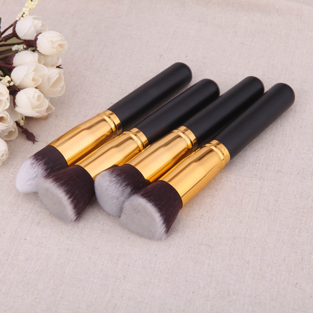 Black Color Makeup Brushes 4Pcs Wood Makeup Brush Kit Professional Cosmetic Set Styling Tools Face Care