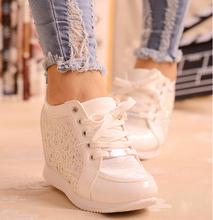 Black White Free Shipping Hidden Wedge Heels Fashion Women's Elevator Shoes Casual Shoes For Women wedge heel Rhinestone 2015(China (Mainland))