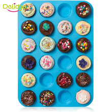 Delidge Mini Muffin Puncakes Biscuit Pans 24 Cupcakes Silicone Mold Cups Mold Non Stick Tray Bakeware Baking Tools(China (Mainland))