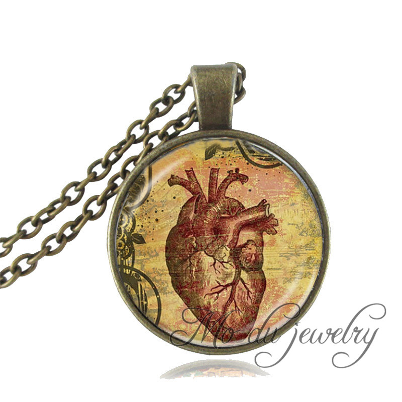 Anatomical Heart pendant necklace glass dome art picture choker vintage anatomical jewelry Biology Medical Neurology jewelry
