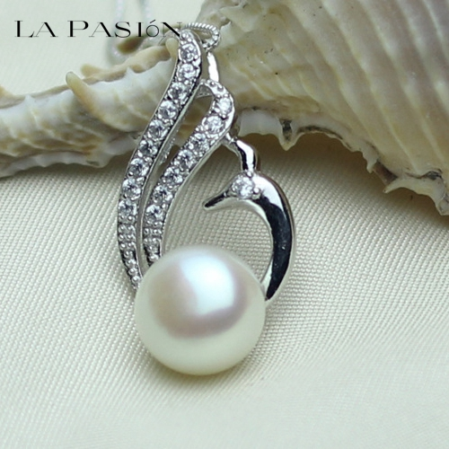 LA PASION 100% Natural Pearl Pendant Freshwater Pearl 10-11mm Silver Necklace Phoenix Pendant Free Shipping PP025(China (Mainland))