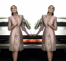 2015 Mother Of The Bride Dress With Long Coat Knee Length Khaki Wedding Guest Outfit Satin Formal Party Gown For Women Handwork