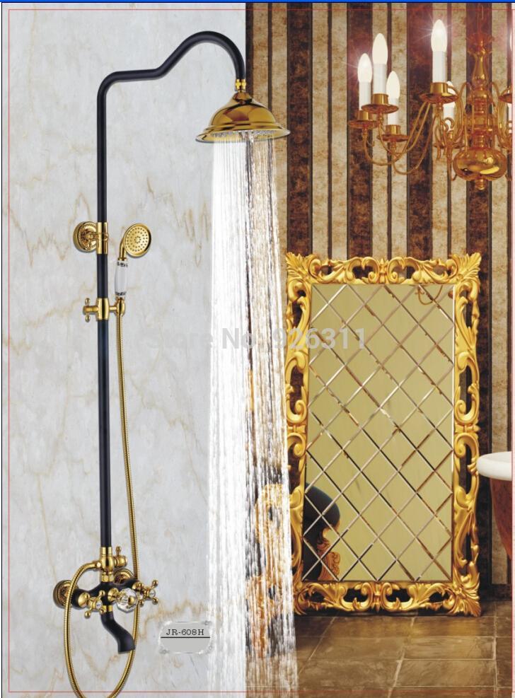 Купить Черный душевой набор, душевая набор Керамической цветок окропил Ванная Комната Золотой Настенные Душевые Комплекты Бесплатная Доставка JH-608H