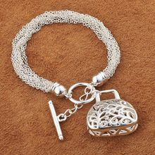 Wholesale jewelry ! Fashion Good quality silver jewelry silver mesh/curb/heart handbag design jewelry silver bracelet AFB147(China (Mainland))