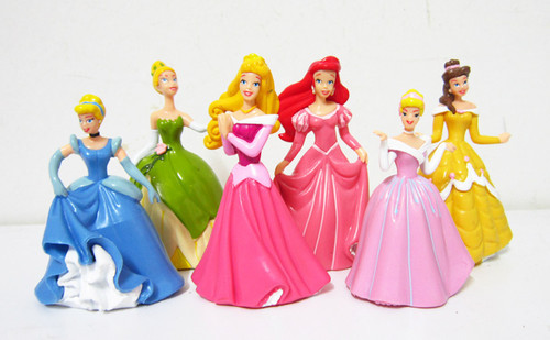 Plastic Princess Story Ariel Cinderella Snow white Belle Cartoon Figure Toys Set 6pc Luxury skirt Lot - Oder here Ltd International toy store