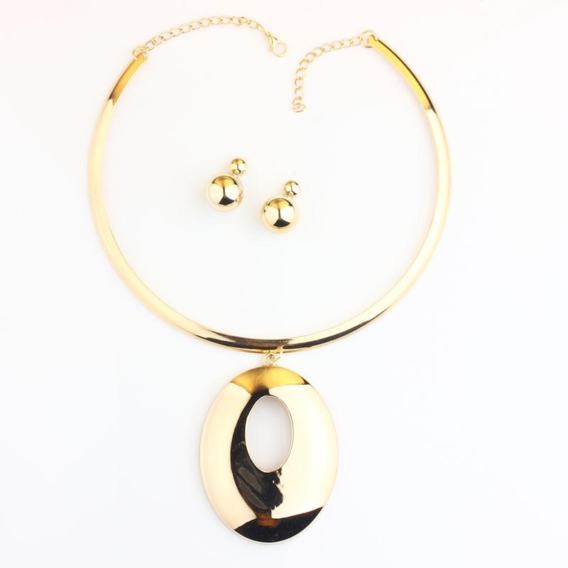 Vivilady 2016 коренастый овальный сплав подвеска ювелирные комплект женщины золото посеребренная крутящий момент африки ожерелье Earrigs свадебные подарки