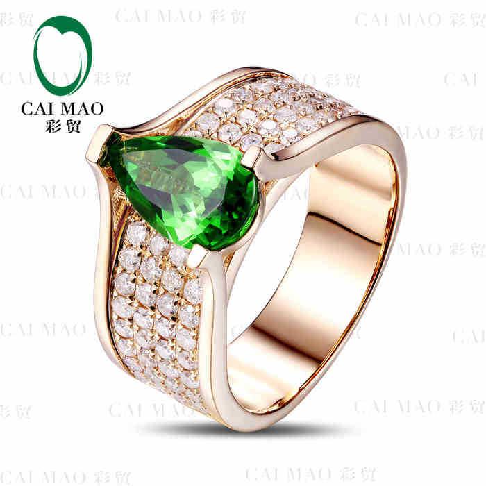 CaiMao 18KT/750 Yellow Gold 1.8 ct Natural Tsavorite  &amp; 1.15 ct Full Cut Diamond Engagement Gemstone Ring Jewelry<br>