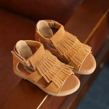 New 2016 Summer Brand High Quality Tassel Genuine Leather Kids Moccasins Sandals Children Shoes For Boys And Girls Sandals(China (Mainland))