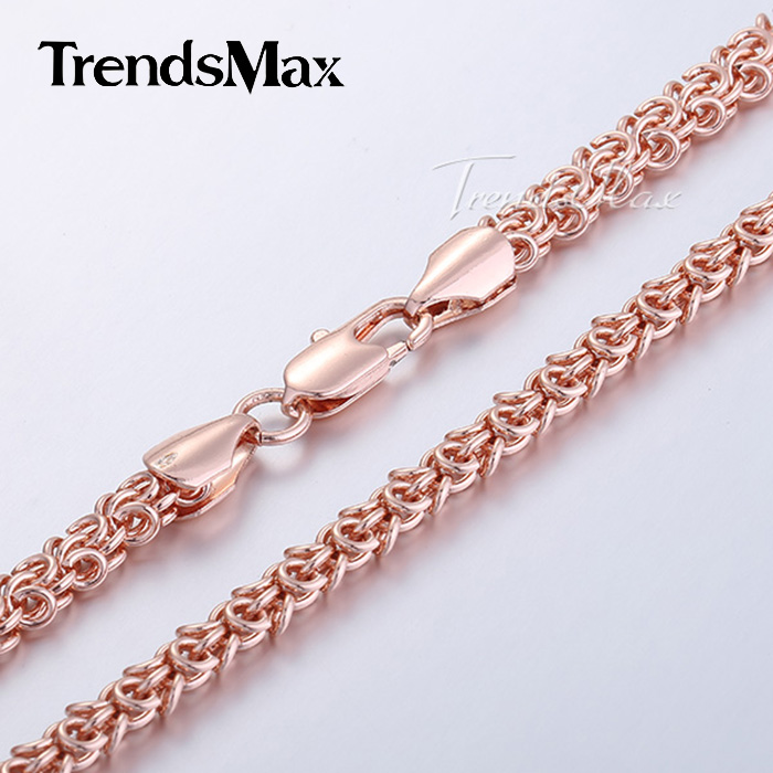 6mm 20/24inch Womens Necklace Swirl Link Rose Gold Filled Necklace Mens Chain Fashion Jewelry Wholesale Price GN223(Hong Kong)