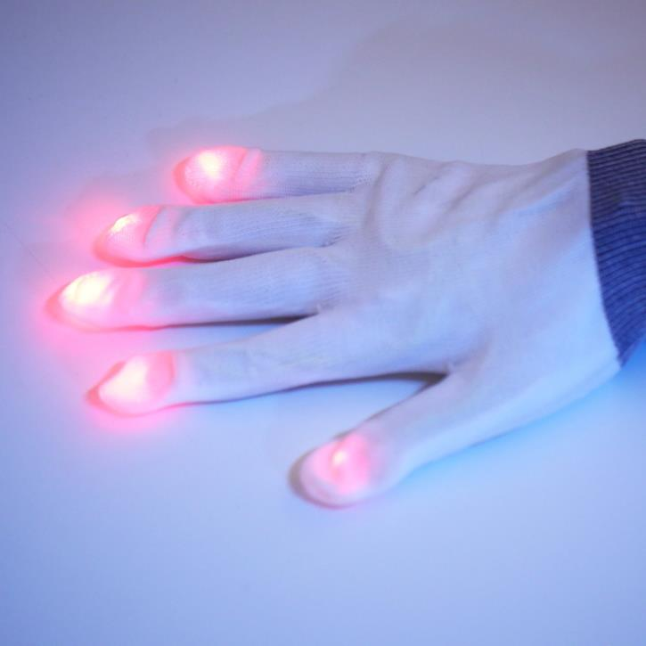 1pair white 7 Mode LED Gloves Rave Light Finger Lighting Flashing Glow Mittens Brand New(China (Mainland))