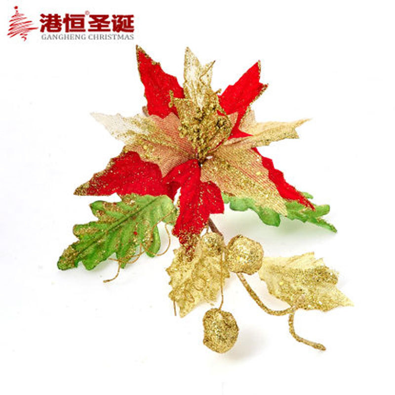 Christmas Tree Decoration With Flowers : Gold red christmas flowers decoration pvc tree