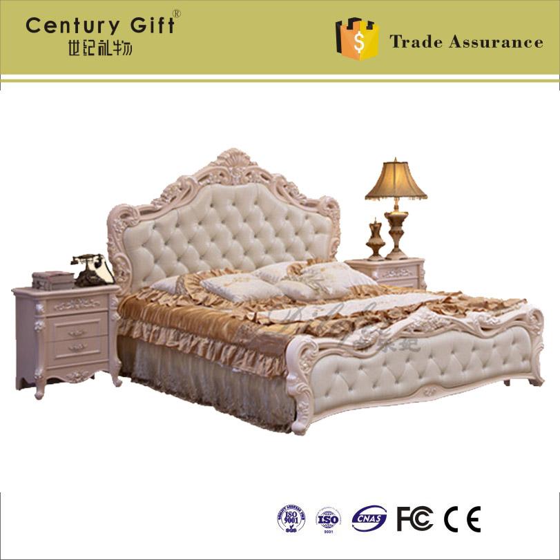 Lujo Cama King Size Muebles De Marco De Madera Embellecimiento ...