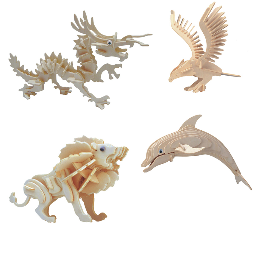 Hot sale the best quality 3D wooden Animal jigsaw puzzle toy educational wooden toys for DIY handmade puzzles Animal series(China (Mainland))