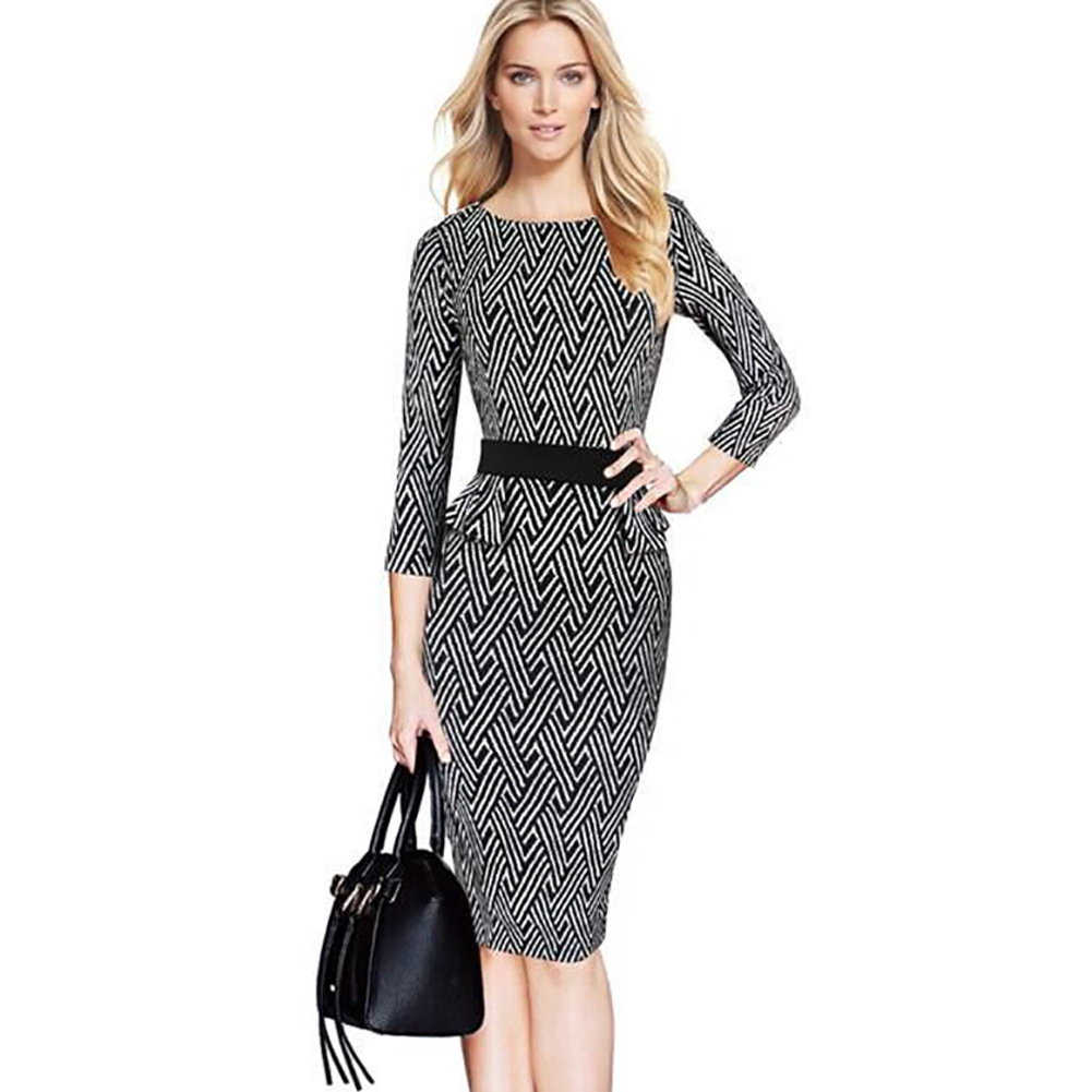 2016 New Womens Vintage Retro Black White Geometric Elegant Belted Tartan Peplum Ruched Tunic Work Party Bodycon Sheath Dress(China (Mainland))